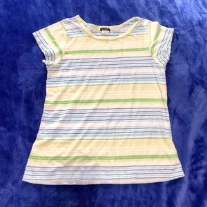 J Crew stripped tee blue & green